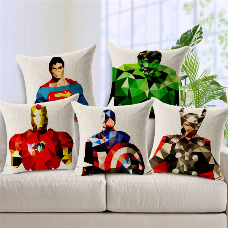 18-45cm-Square-Home-Decorative-Cartoon-Marvel-Heroes-Cushion-Pillow-Case-Mosaics-The-Avengers-Pillowcase-Batman