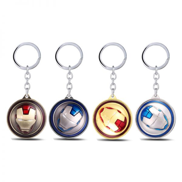 Julie-Marvel-Super-Hero-The-Avengers-Iron-Man-Mask-Keychain-Rotatable-Round-4-Colors-Key-Chain