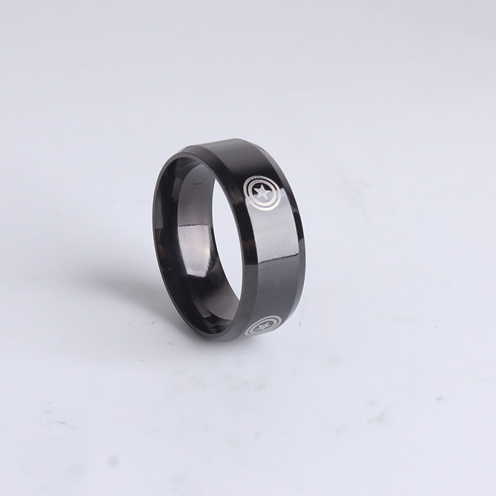 wholesale-8mm-black-round-shield-captain-america-for-men-316l-stainless-steel-finger-rings-jewelry-1